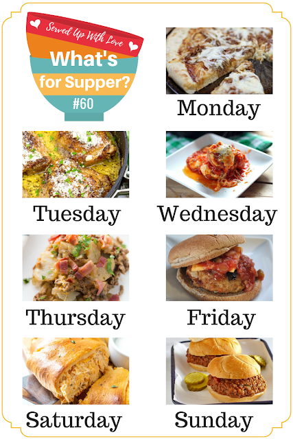 What's for Supper Sunday meal plan recipes include Buffalo Chicken Crescent Ring, BBQ Pizza, Italian Chicken Thighs, Meatball Parmesan, Cheesy Cowboy Potatoes, and so much more.