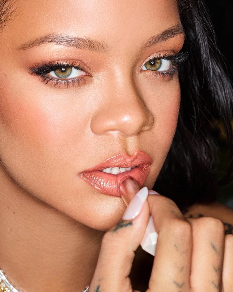 Rihanna stars in Fenty Beauty SLIP SHINE Sheer Shiny Lipstick campaign.