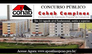 Apostila Concurso COHAB CP Campinas 2016.