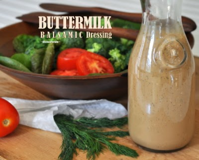 Buttermilk Balsamic Dressing (pictured), one of a Trio of Salad Dressings made with simple pantry ingredients | Weight Watchers PointsPlus 0 | KitchenParade.com