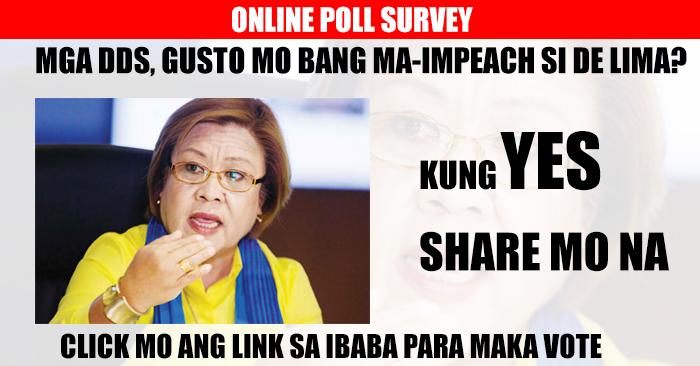 ONLINE POLL SURVEY: Gusto Mo Bang Ma-impeach si Sen.De Lima? Vote Now!