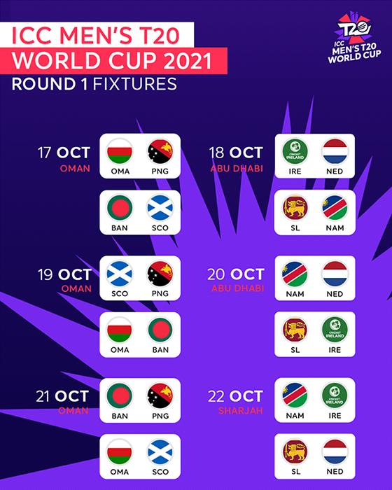 ICC T20 World Cup 2021 Fixtures Download