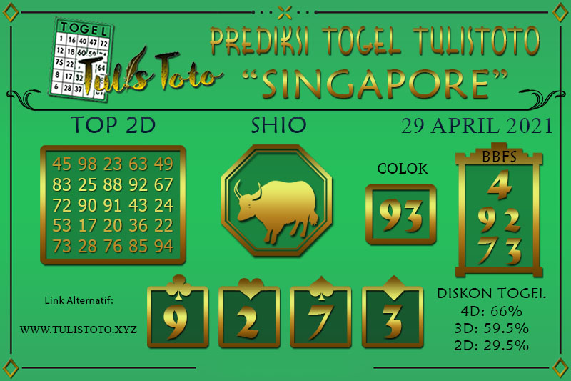 Prediksi Togel SINGAPORE TULISTOTO 29 APRIL 2021