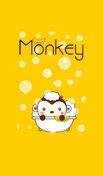Monkey take a bath