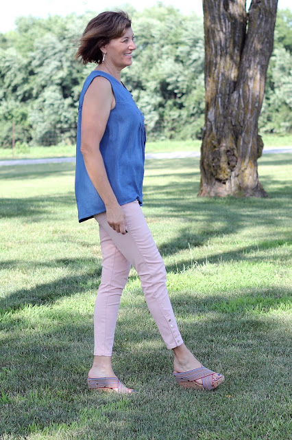 Indiesew's Valencia Tunic in Rayon Denim Shirting - side view