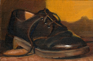 Oil painting of a single black Dr. Martens shoe.