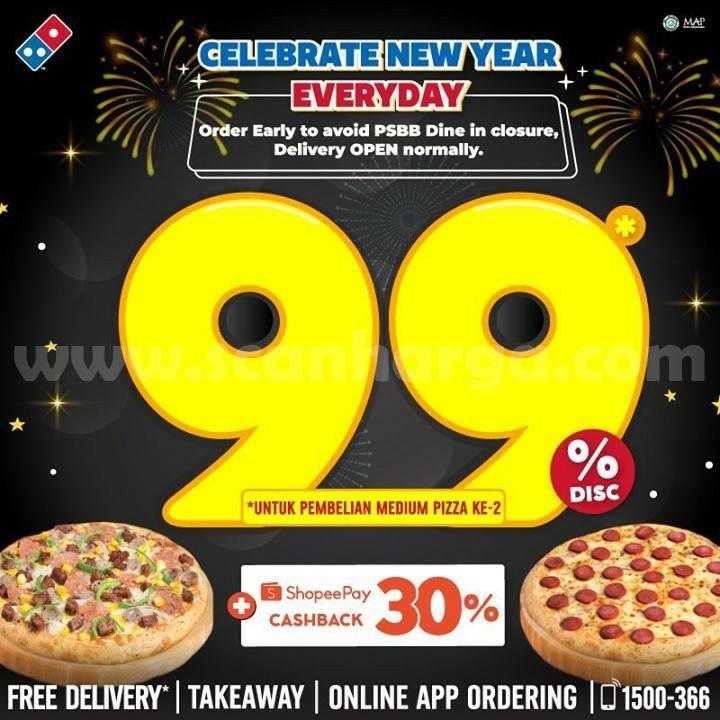 Dominos Pizza Promo Tahun Baru – Diskon 99% untuk Pizza kedua