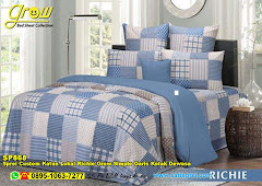 Sprei Custom Katun Lokal Richie Grow Simple Garis Kotak Dewasa