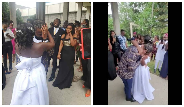 Moment Nigerian man breaks down in tears as his bride gifts him a Brand new car on their wedding day (Video)