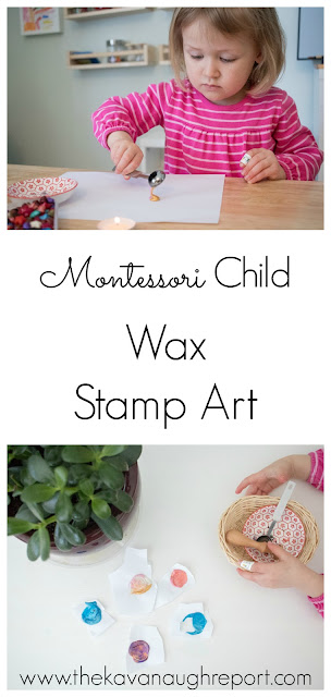 On our Montessori art shelves: hot wax stamping