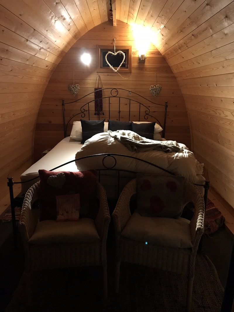 Inside a romantic pod at Ecocamp Glenshee
