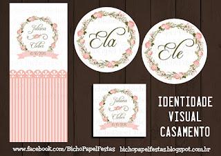 kit identidade visual casamento rosa