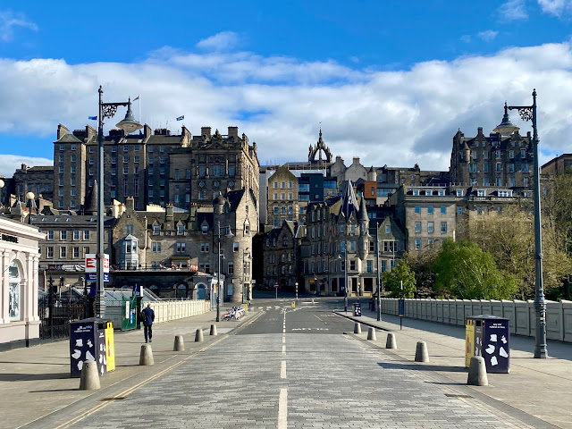 Waverley Bridge and Edinburgh Old Town - empty streets during the Covid-19 lockdown