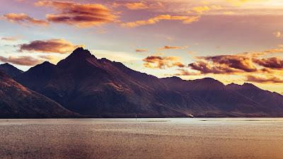 Wallpaper mountain, lake, sunset clouds