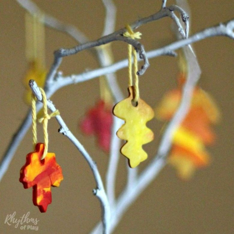 marbled clay fall leaves autumn craft for kids