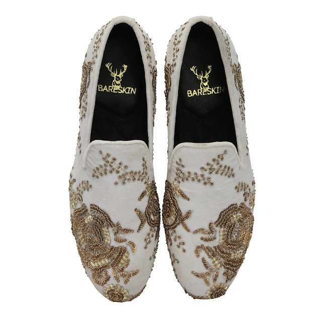 BARESKIN WHITE LEATHER SLIP-ON SHOES WITH COPPER GOLD ZARDOSI EMBROIDERY-