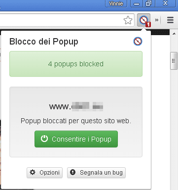 Poper Blocker Chrome icona popup bloccato