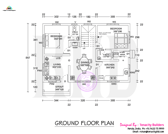 Floor plan drawing of ground floor