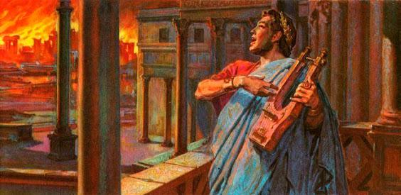 se extendió el rumor de que Nerón se encontraba en una torre mientras observaba la ciudad en llamas y cantaba una canción sobre la destrucción de Troya. Este rumor ha llegado hasta nuestros días en forma de mito.