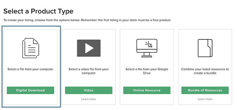 Image of Select a Product Type page with Digital Download selection boxed