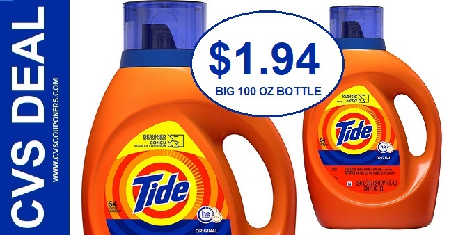 Big Bottle of Tide CVS Deal $1.94 1-17-1-23
