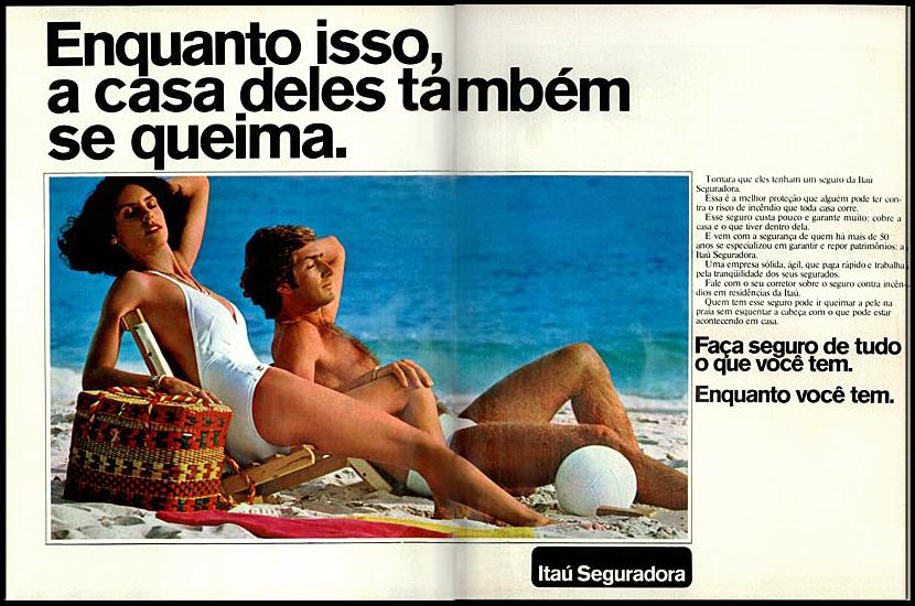 Propaganda antiga de 1978 que apresentava os serviços da Itaú Seguradora