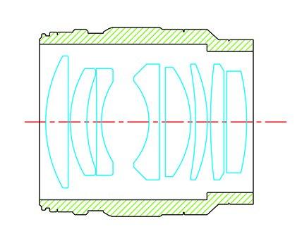 Оптическая схема объектива Kamlan 55mm f/1.2