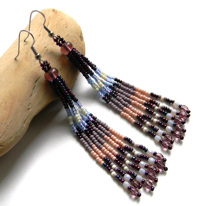 purple seed bead earrings beadwork jewelry beaded fringe earrings
