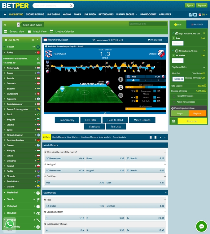 Betper Live Betting Screen