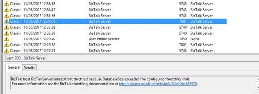 BizTalk host BizTalkServerApplication throttled because DatabaseSize exceeded the configured throttling limit