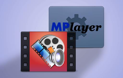 SMPlayer em primeiro plano e MPlayer em segundo plano.