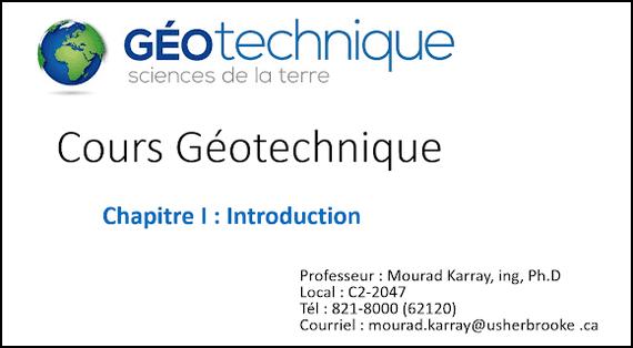 Cours Géotechnique - Chapitre 1 - Introduction