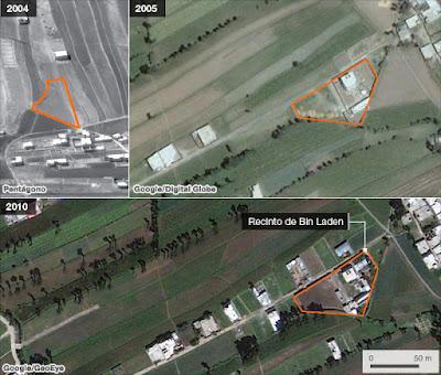 vista satelital de la propiedad de osama bin laden