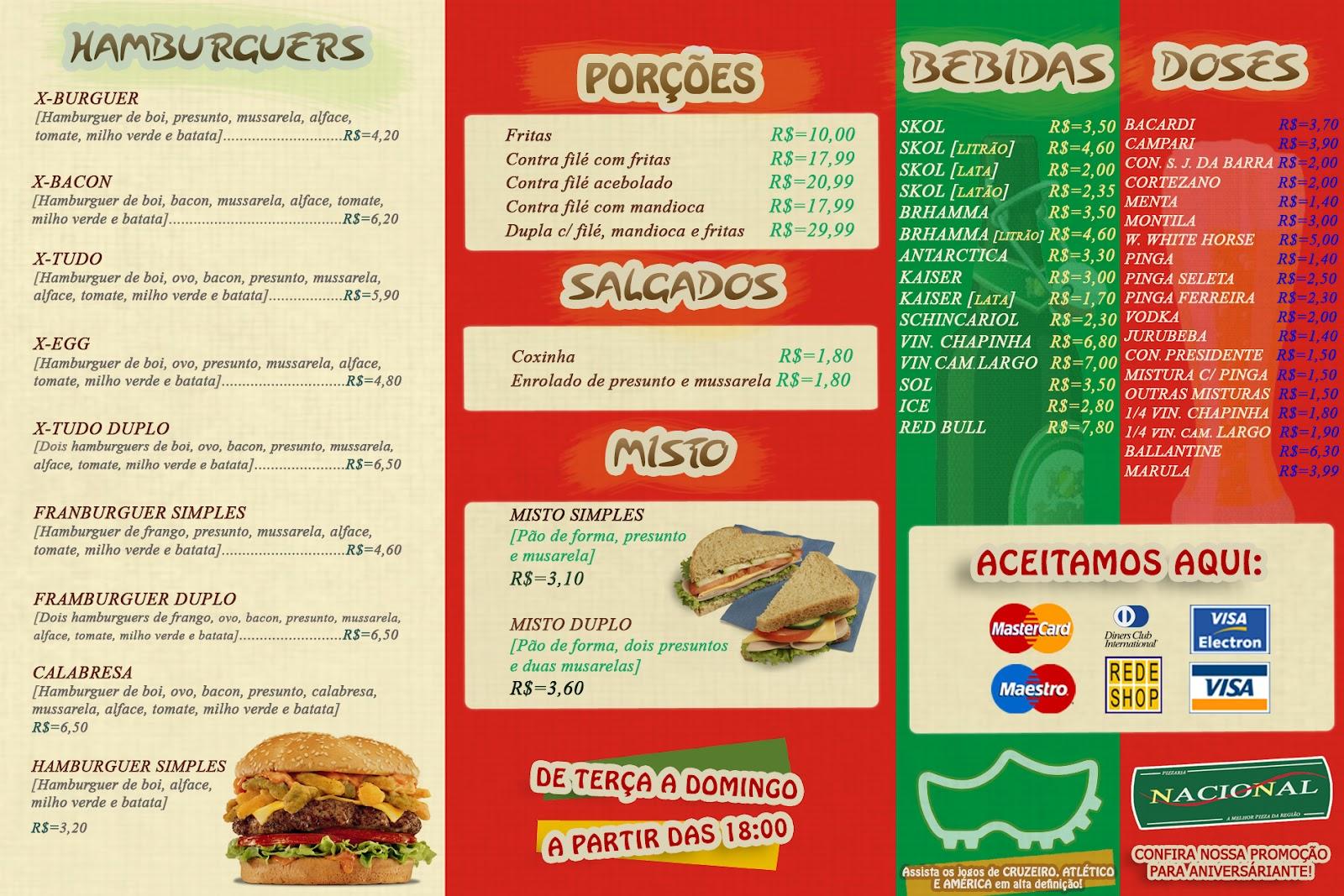 Cardápio Pizzaria Nacional - Frente   Leandroibtm