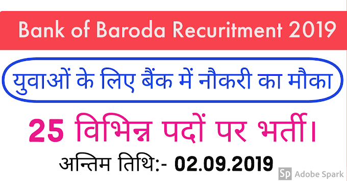 Bank of Baroda Recurtment 2019 , pecialist IT Professional – 25 Posts