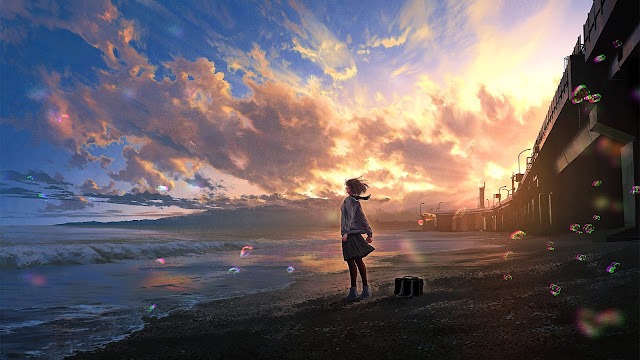 Beautiful Anime Sunset Wallpaper