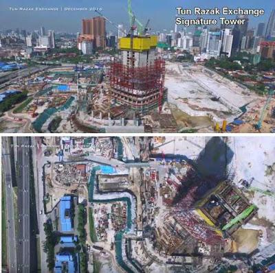 Kemajuan Pembinaan Bangunan Tun Razak Exchange (TRX)Pada Disember 2016