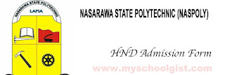 Nasarawa State Polytechnic 2019/2020 HND Admission Form  Available Online