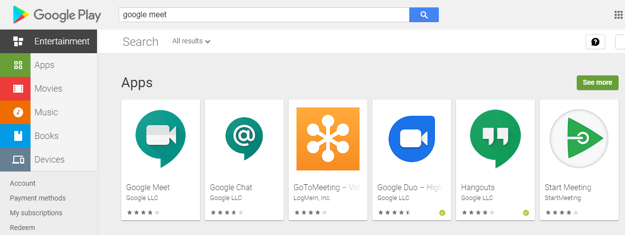 download google meet from google playstore