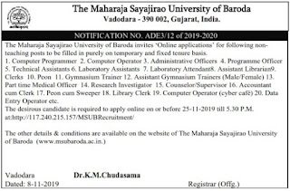 Clerk, Peon, Data Entry Manager, Administrative Assistant & Other Post 2019 MSU Baroda Recruitment.MSU Baroda Recruitment for Various Post 2019