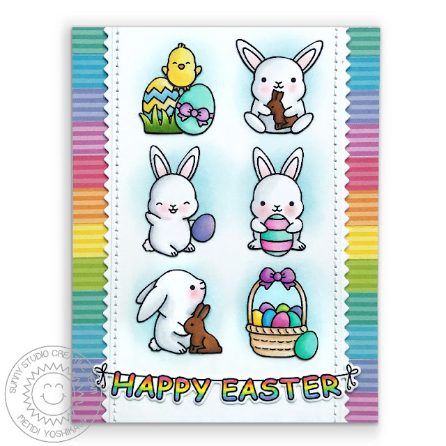 Sunny Studio Stamps: Chubby Bunny Easter Card (using Dots & Stripes Pastels Paper & Ric Rac Border Die)