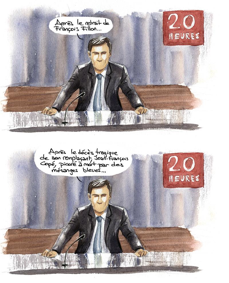 pujadas parle du retrait de Fillon et de son remplacement par Copé