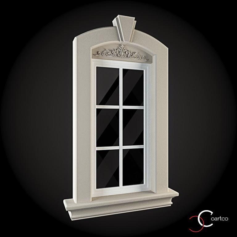 Ornamente Geamuri Exterior, fatade case cu profile decorative polistiren, profile fatada,  Model Cod: WIN-035