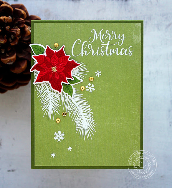 Sunny Studio Stamps: Petite Poinsettias Classic Christmas Card by Vanessa Menhorn