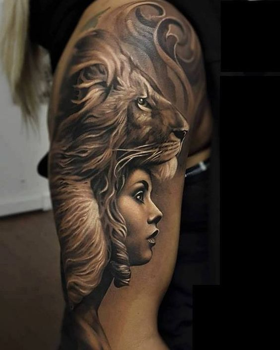 Gorgeous sleeve lion tattoos for women