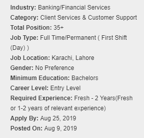 MCB Bank Jobs for Contact Center Executive – Information Technology Group 2019