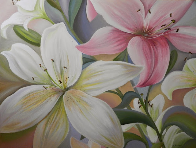 Lily Flowers by Chitra Vaidya, Oil & Acrylic on Canvas, 36 x 48 inches (part of her portfolio on www.indiaart.com)