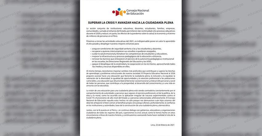 COMUNICADO CNE: «Superar la crisis y avanzar hacia la ciudadanía plena»