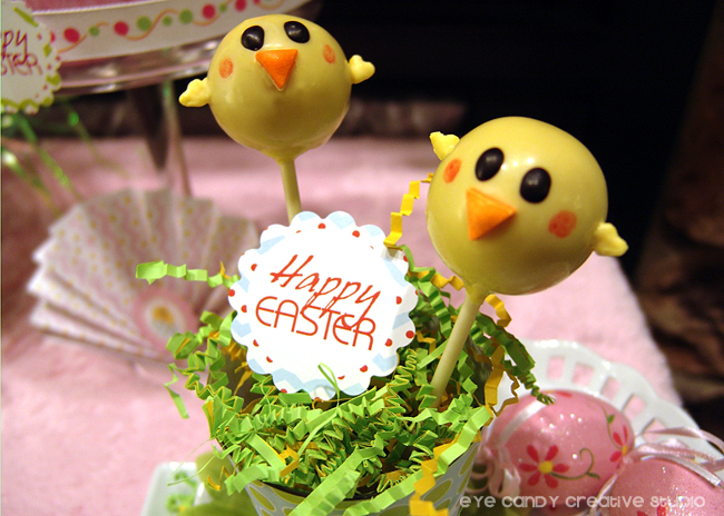 chick cakepops, little chicks, easter party food ideas, easter dessert