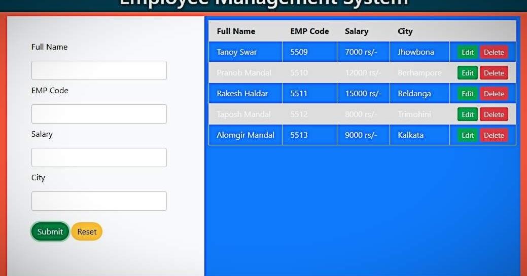 EMPLOYEE MANAGEMENT SYSTEM USING JAVASCRIPT
